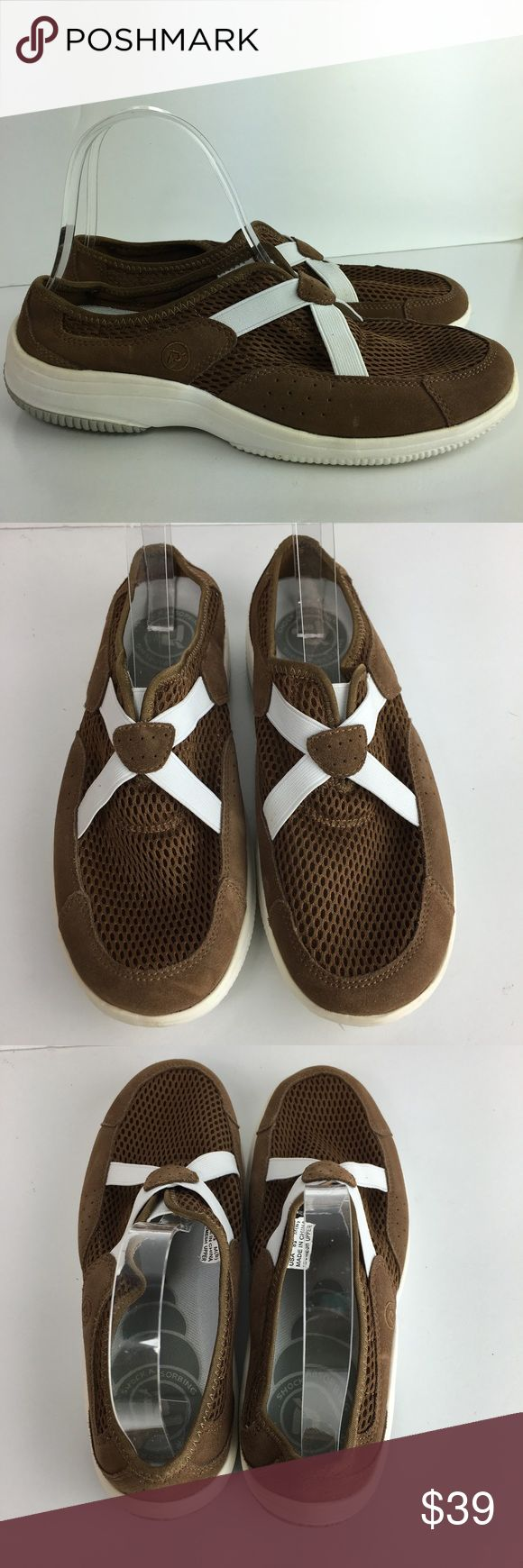 Propet Flats Suede Walking Shock Absorbing Slip On Propet Womans Flats Size 8.5 Brown Suede Mesh Walking Shock Absorbing Slip On Heel 1 3/4 B3 Propet Shoes Athletic Shoes