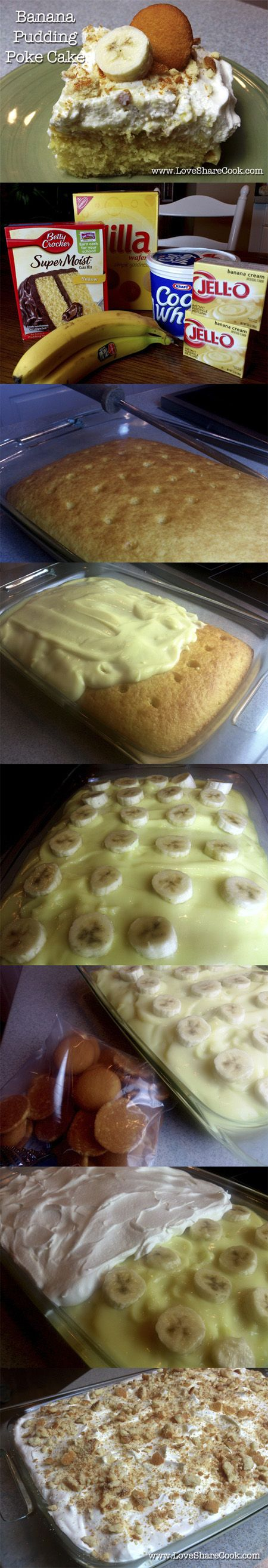PokeCake Banana pudding...I made this for my fiancee on his Birthday.  He took it to work and it was a huge hit.  I've actually made this and it was good