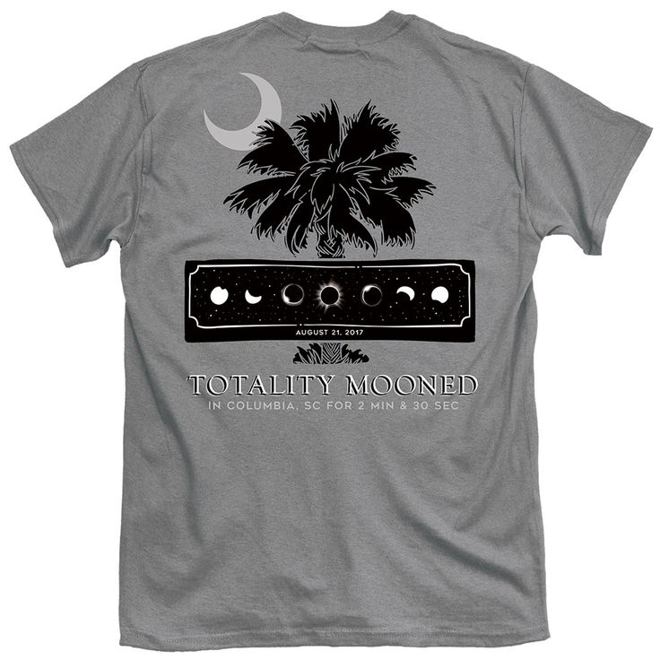 Palmetto Eclipse Totality Mooned T-Shirt - Gray  #eclipse #southcarolina #sceclipse #eclipse2017 #eclipsetee #eclipsetshirts #sc #palmettotree