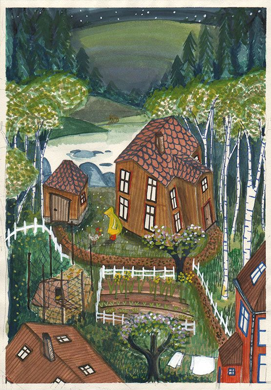 Chicken Talk Illustration - Garden Illustration - Art Print - Birch Tree Illustration - Forest - Chickens - Houses Illustration - Children by SigneGabriel on Etsy