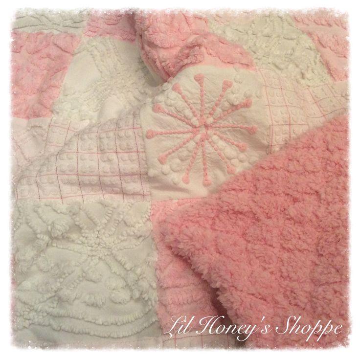 chenille quilt pink u0026 white baby blanket - Chenille Blanket