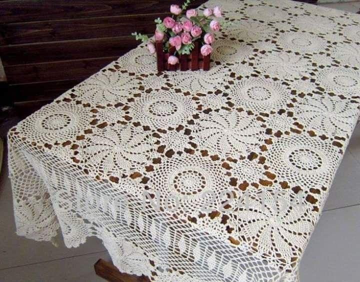 Mantel Tapetes Cuadrados A Crochet Patrones