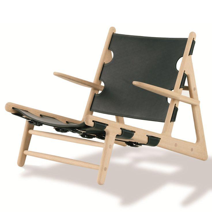 "Stol 2229 ""Jaktstolen"", obehandlad ek, svart läder från Fredericia Furniture – Köp online på Rum21.s"