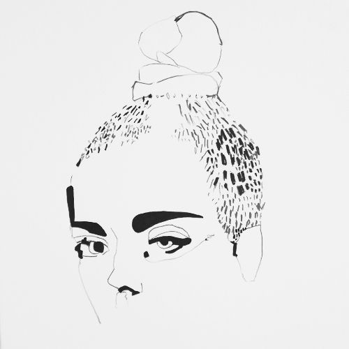 black and white fashion illustration by erin flannery / acrylic, pencil, charcoal on paper