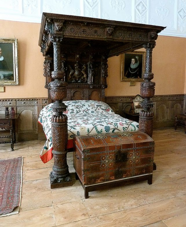 "Tudor bed at Montacute House, UK. Note nail-headed chest at foot of bed. This technique is shown in a modern-day headboard on my ""Bedroom Ideas"" board."
