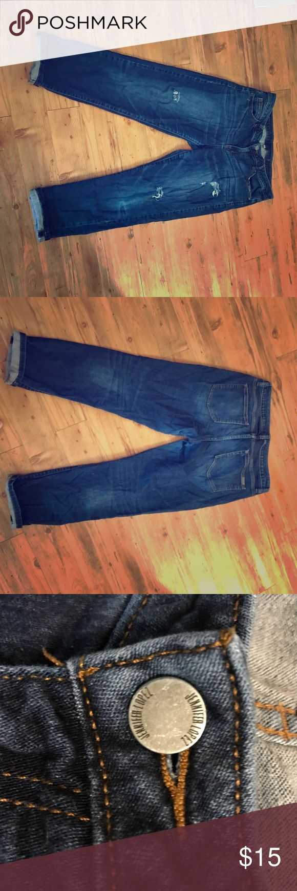 Jennifer Lopez Boyfriend Jeans GUC Size 8 GUC Jennifer Lopez Boyfriend Jeans Size 8. Distressed with holes. Some Piling on inner thighs (pictured) but no holes or other damage. 💸 Love the item, but not the price?💸 Make me an offer using the offer button!💸 Jennifer Lopez Jeans Boyfriend