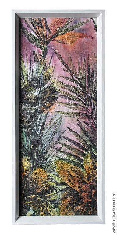 Купить Панно «Тропики» - Новый Год, текстиль, роспись по ткани, батик панно, панно, змея