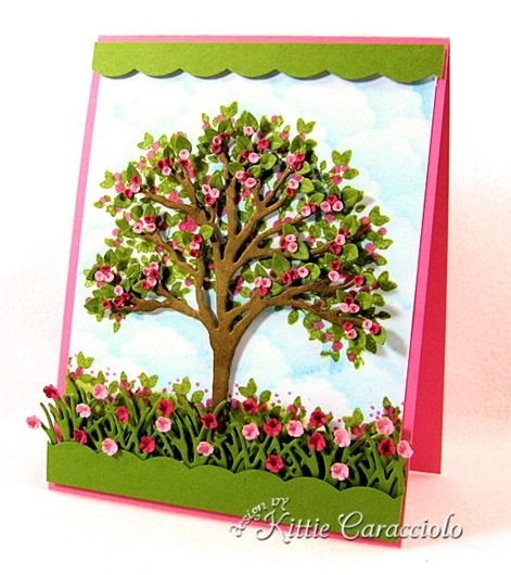 Impression Obsession tree die and solid tree stamp set. Tutorial