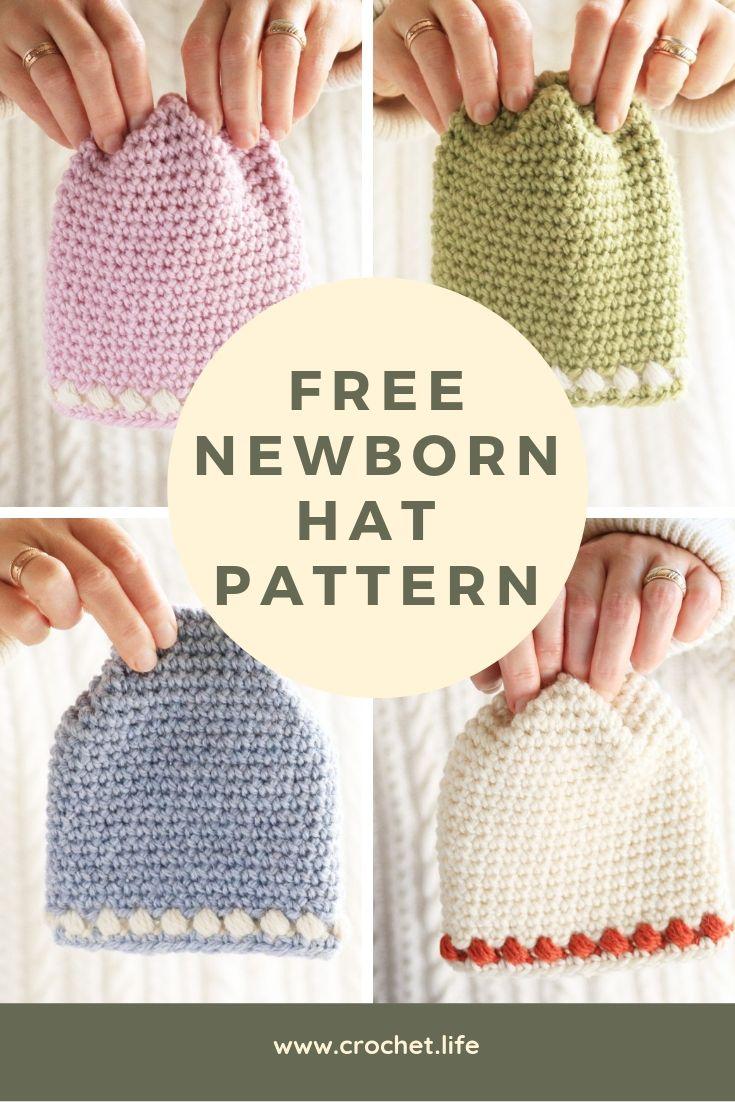 Newborn Hat Pattern - Free from GoldenStrandStudio.com / crochet ...