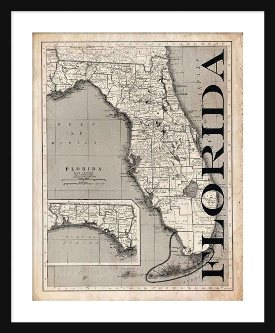Florida Map About These Prints These detailed state maps are unique in that the state name has been added to the edge of the map to create a unique map with multiple decorating uses. Several maps can be displayed on a home or office wall for greater visual impact.