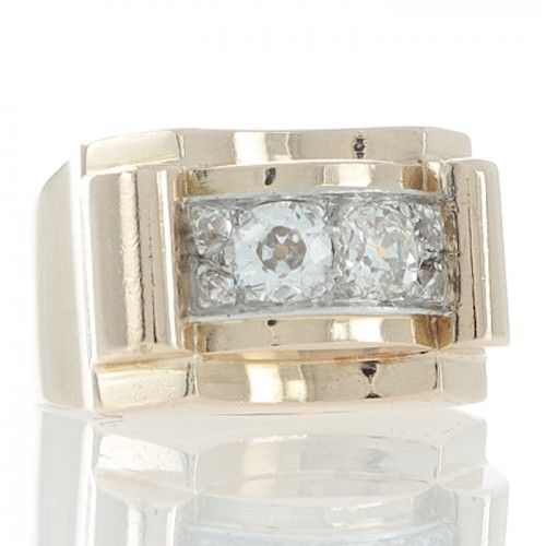 An 18ct yellow gold ring featuring a pair of old cushion cut diamonds with two smaller round old cut diamonds either side all in a raised white gold plaque set either end with a raised yellow gold bar to a tapering band marked to the outside with French hallmarks. #Rutherford #Melbourne