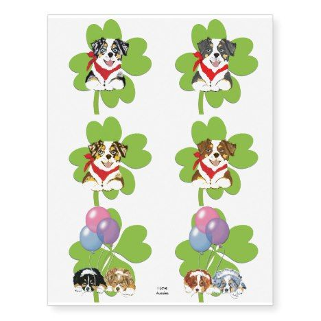 Australian Shepherd Puppies St Patrick Temp Tattoo #stpatricksday #tattoos #shamrock #paddysday