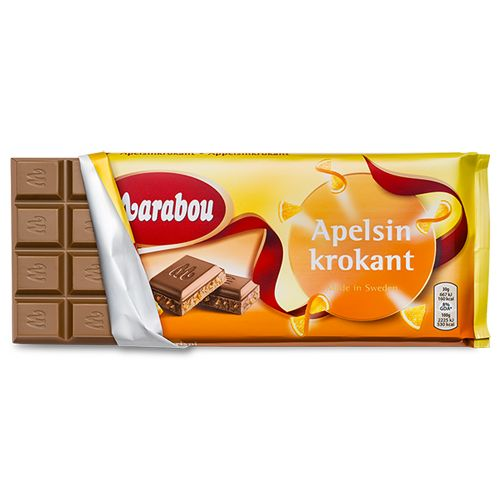 Marabou Apelsinkrokant - Milk chocolate bar with orange flavour and crispy bits - a delicious big bar of chocolate from Marabou - the Scandinavian favourite chocolate makers.