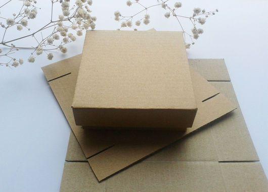 Купить Коробочка из микрогофрокартона 8х8х3см. Заготовка. - упаковка, коробка, коробочка, коробка для упаковки, картонная коробка