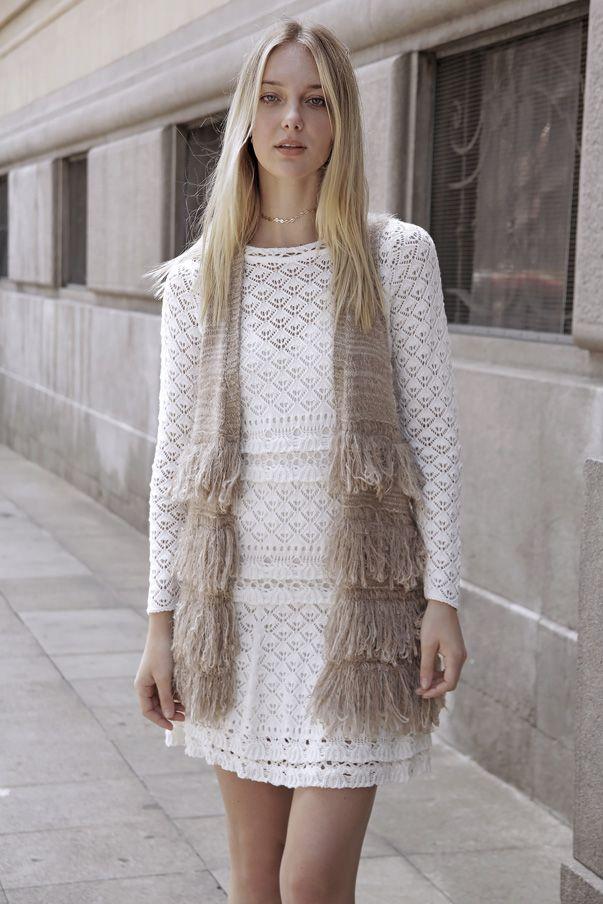 Vestido Renda Candy Off White | Galeria Tricot - Galeria Tricot