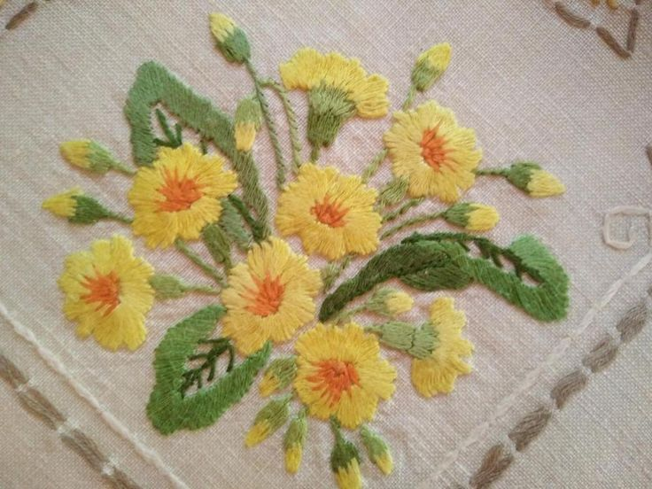 WOW Primroses & Blue Bells ~ Vintage Huge Heavily Hand Embroidered Centre/Mat | Antiques, Textiles, Linens, Embroidery | eBay!