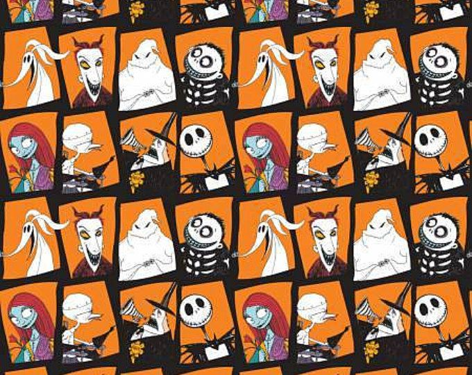 The Nightmare Before Christmas, Jack and Sally Orange Character Blocks cotton fabric by Camelot Fabrics