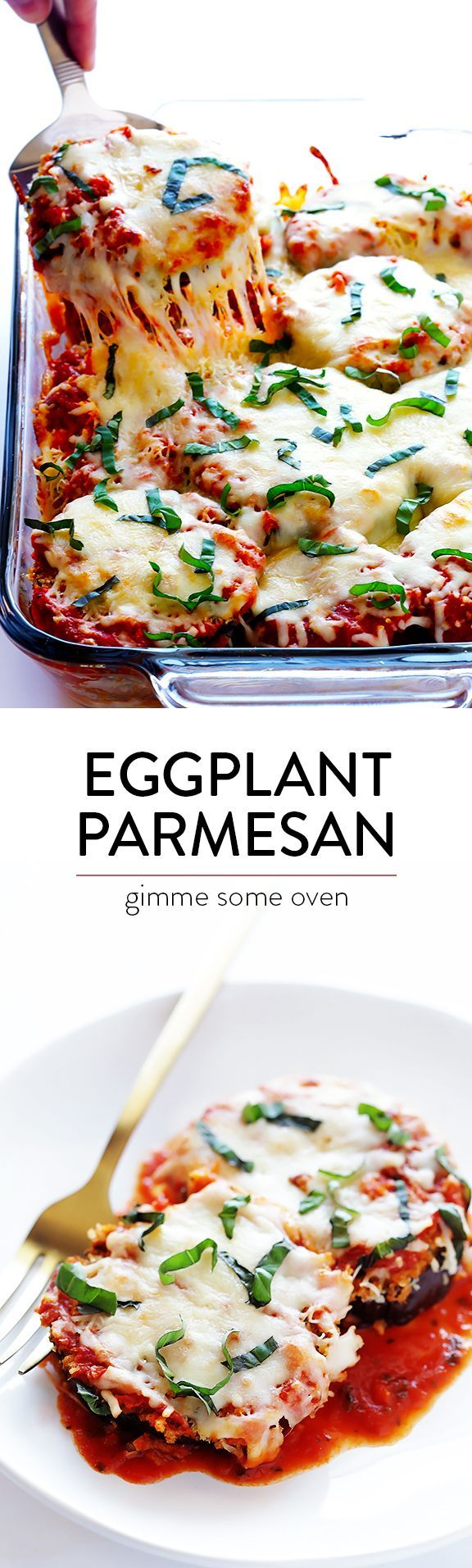Baked Eggplant Parmesan -- made lighter with a few simple tweaks, yet it still tastes like the comfort food we all love! | gimmesomeoven.com