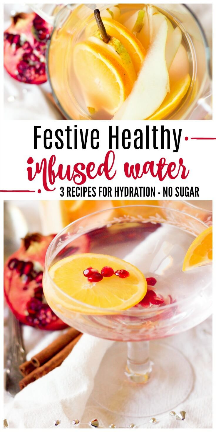 Stay hydrated and treat yourself to a glass or two of Festive Healthy Infused Water during the colder months or at holiday gatherings. With these 3 delicious and easy recipes, you won't be struggling to get your daily water intake in. | Recipes to Nourish // Paleo | Primal | Gluten Free | Vegan | Holidays #infusedwaters #healthydrinks #holidaydrinks #hydratingdrinks via @recipes2nourish