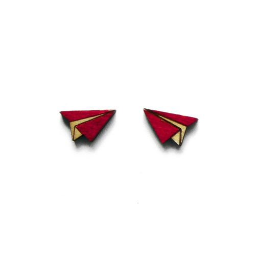 Paper plane earrings by ALZBETA DESIGN Earrings are made of 2mm plywood.
