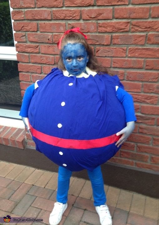 Julie: My daughter Ciara needed a costume for world book club day. She decided on rohl Dahyl Charlie and the chocolate factory violet. We completed a paper mâché of a medicine...