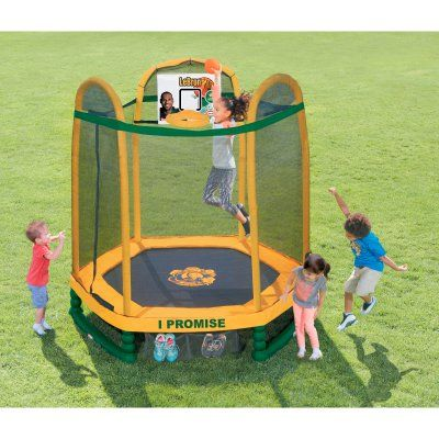 Little Tikes 7 ft. Round LeBron James Family Foundation Dream Big Trampoline with Enclosure - 642104, Durable