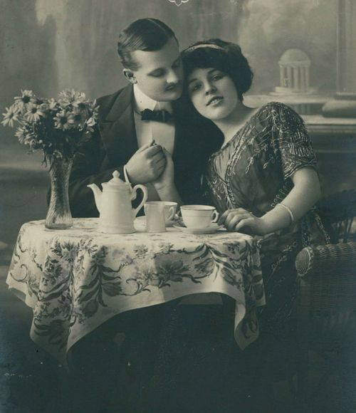 Tea and Love ~  1910s German Postcard