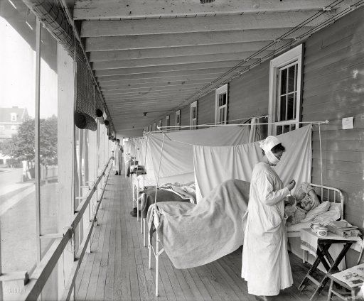 "Washington, D.C., circa 1919. ""Walter Reed Hospital flu ward."" One of the very few images in Washington-area photo archives documenting the influenza contagion of 1918-1919, which killed over 500,000 Americans and tens of millions around the globe. Harris & Ewing glass negative."