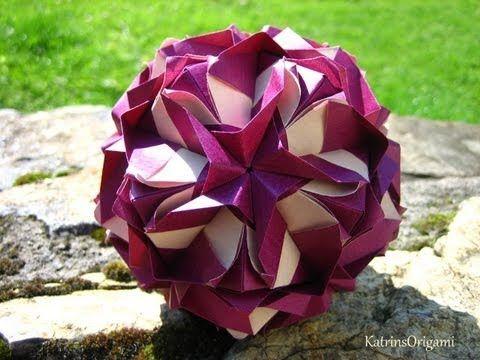 Origami ჱܓ Royal Rose ჱܓ Kusudama - YouTube