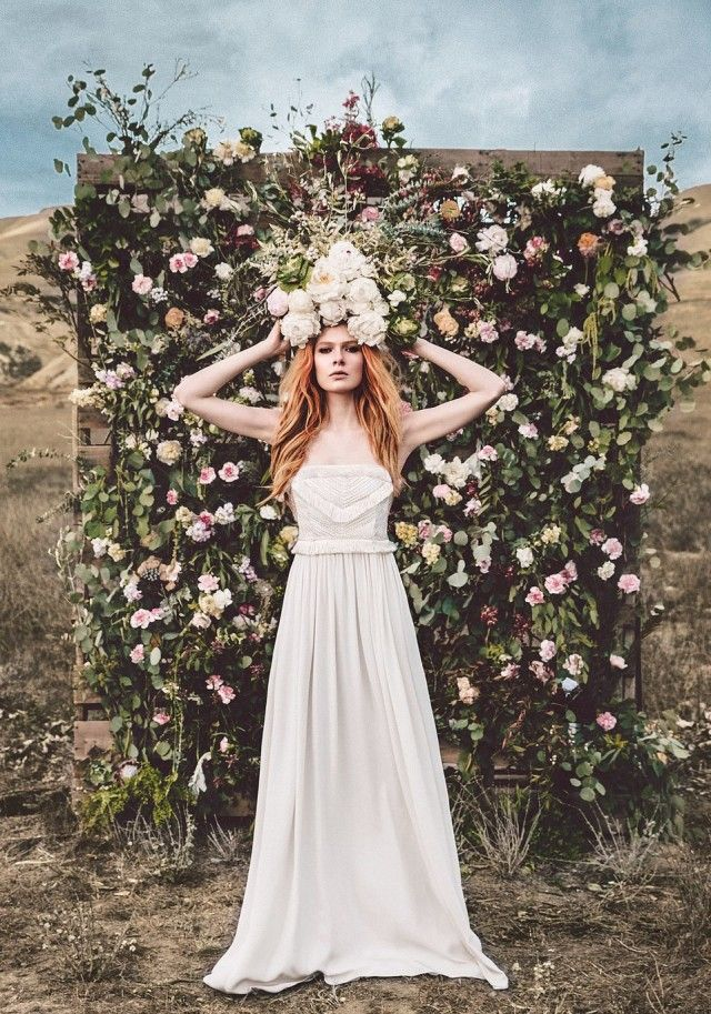 Silk georgette and chiffon gowns with intricate beading, embroidered embellishments, braided fringe and subtle cutouts . . . leave it to Mara Hoffman to dream up a yet another non conventional, yet absolutely stunning collection of wedding dresses. Dresses as beautiful as ones with