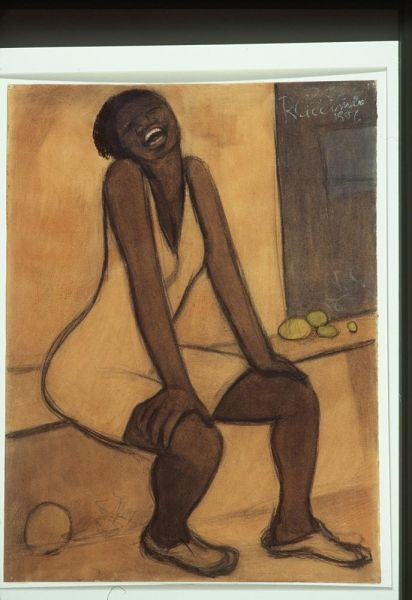 Laughing Woman, 1956, Richard Ciccimarra, chalk, charcoal, wash, tempera and varnish on ochre coloured wove paper, 45.8 x 61.3 cm., Victoria, British Columbia, Canada. Acquired 1962 by Art Gallery of Greater Victoria.