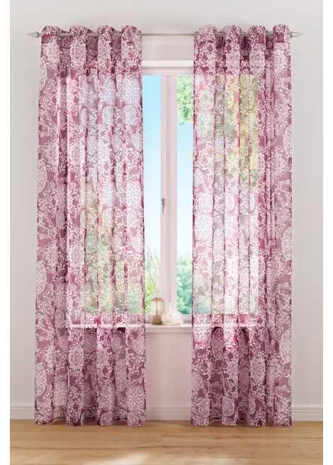 """Jetzt anschauen: Wirkungsvolle und verspielte Optik: Die transparente Gardine """"Junis"""" ist aus luftig leichter Voile-Qualität gefertigt und zeigt sich im modernen Ornament-Look. Der Allover-Druck ist dadurch ein toller Blickfang an Ihrer Fensterfront."""