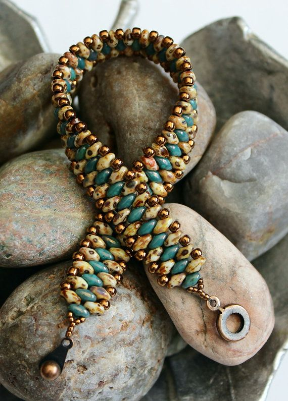 Petite Superduo Band Bracelet Cuff Bracelet by ReggiesCreations
