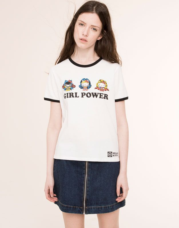 Pull&Bear - femme - t-shirts et tops - t-shirt hello kitty - blanc - 05238341-V2016
