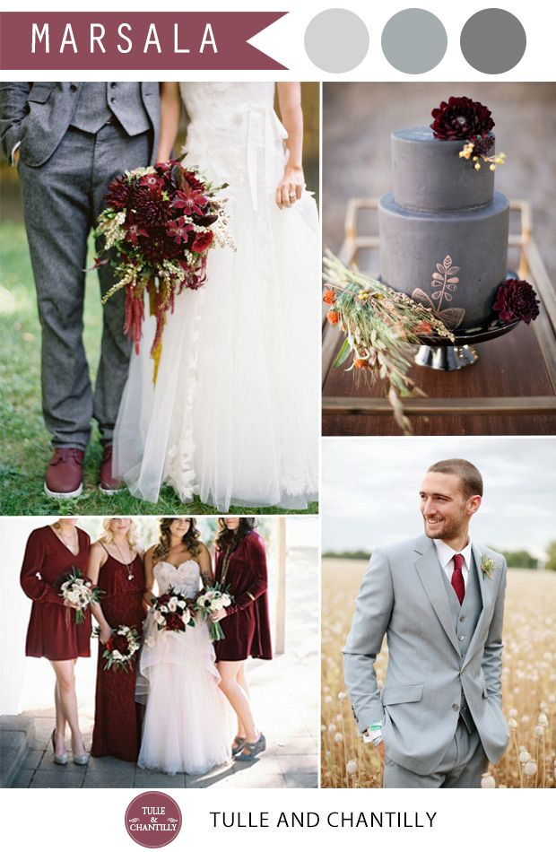 vintage marsala and grey wedding color combo ideas 2015