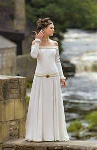 White Medieval Dress - enjoy this off the shoulder, in a diff colour, for me - mother of the bride