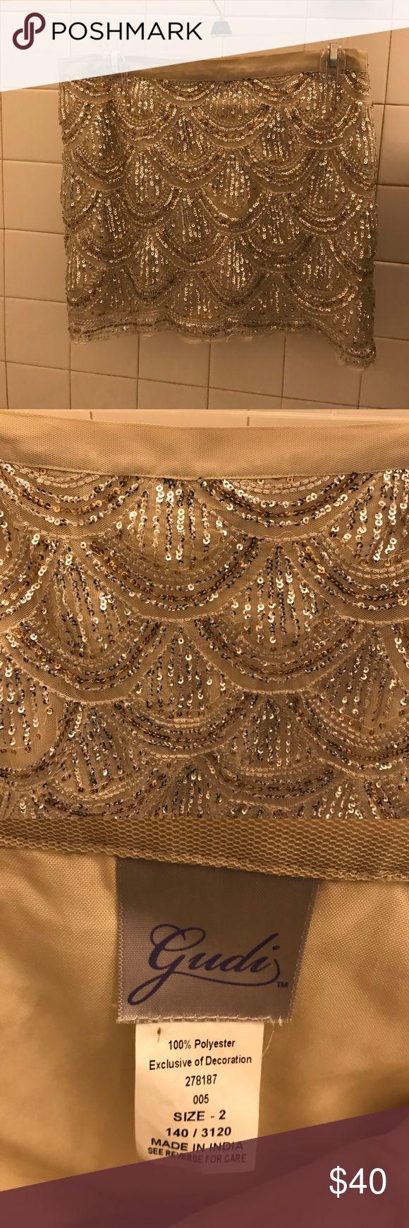 Sequin mini skirt. Size 2 Gudi sequin mini skirt. Gold/silver. Size 2. gudi Skirts Mini