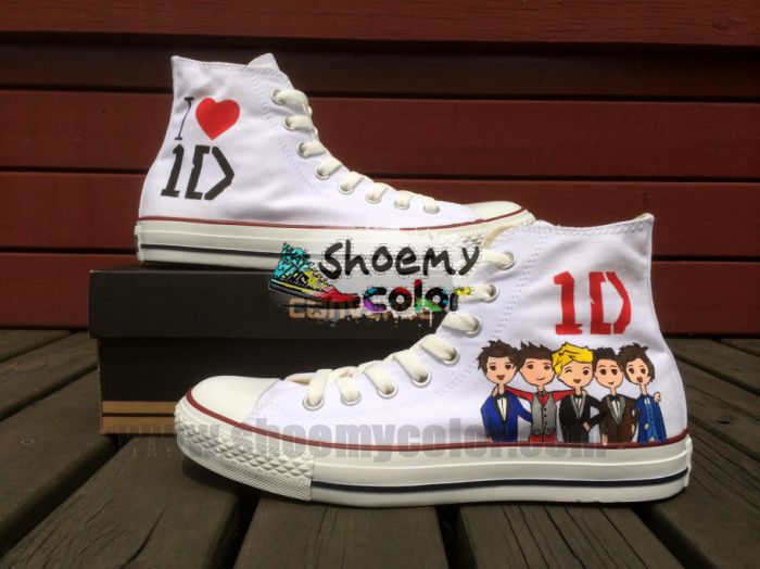 Converse Chuck Taylor Women Men Shoes One Direction Design Hand Painted  High Top White Canvas Sneakers Christmas Gifts