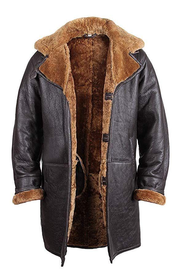 8bf5b52f1c4  Affiliate  Brandslock Mens Real Shearling Sheepskin Leather Duffle Coat X- Small Brown