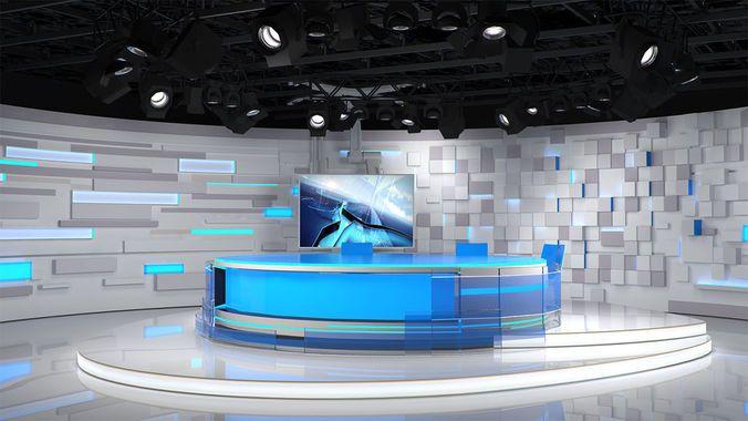 virtual tv studio 3d free broadcast programm program camera design future styled cubic interior