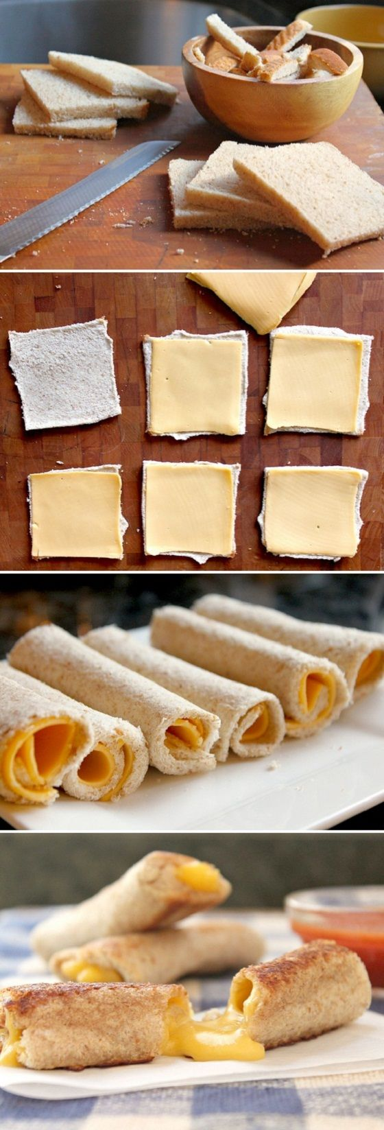 Grilled Cheese Rolls... Perfect for dipping into tomato soup!