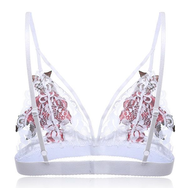 Sexy Triangle Cup Unlined Hollow Rose Embroidery Bras - Newchic