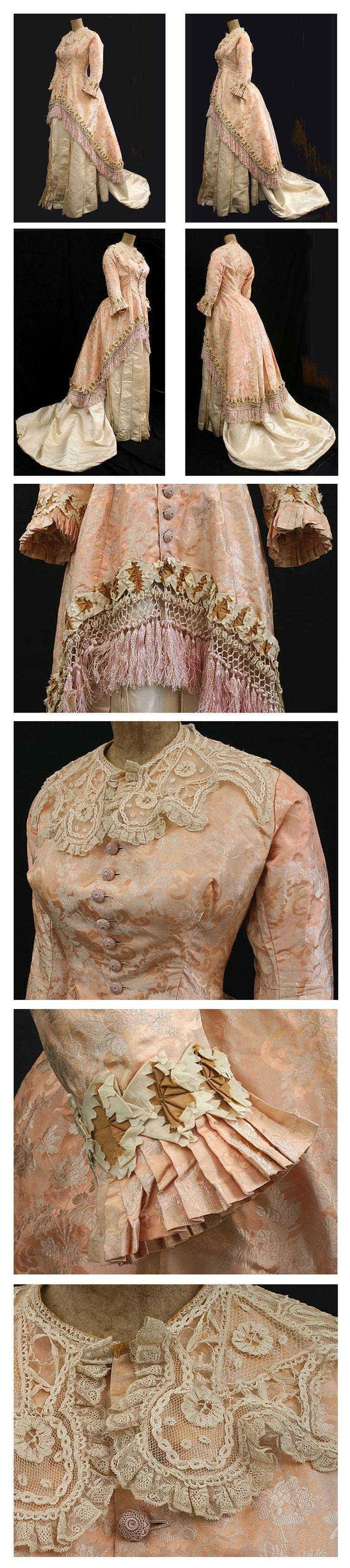 ~Silk brocade/satin two-piece gown, c.1880 vintagetextile.com~