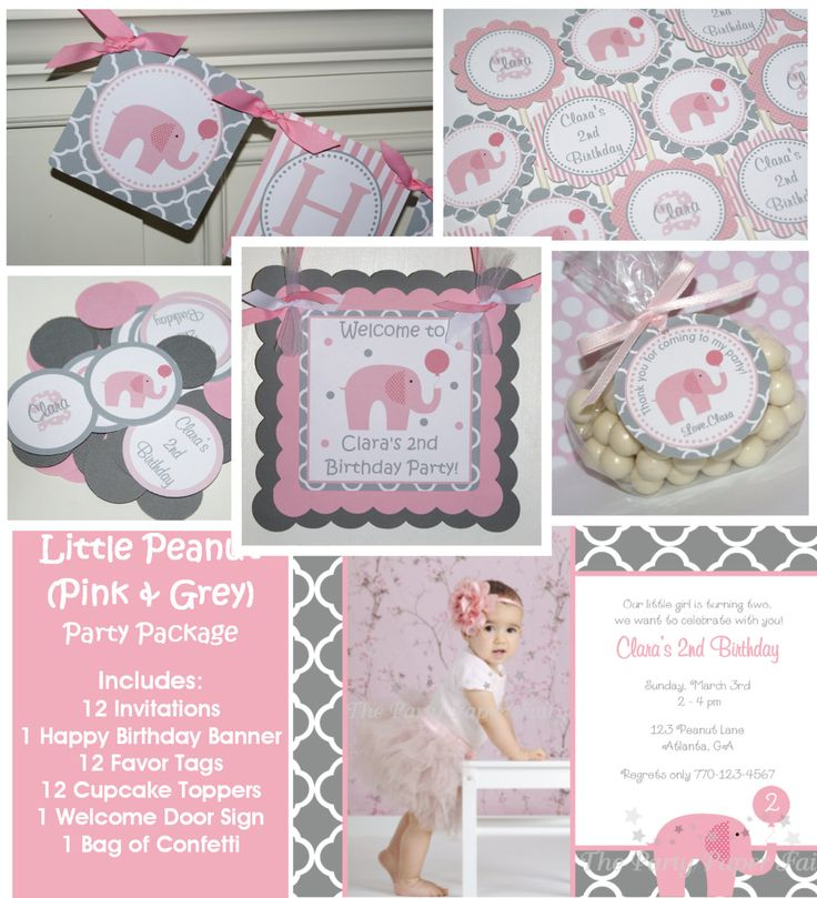 Little Peanut Pink Elephant Birthday Party Package - Invitation, banner, cupcake toppers and More - The Party Paper Fairy. $88.00, via Etsy.