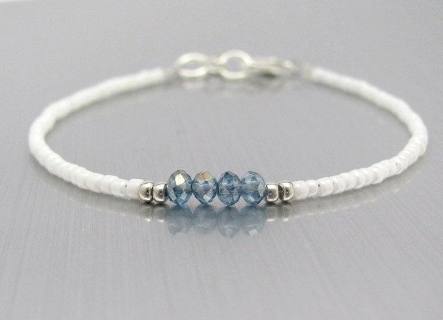 White Friendship Bracelet Blue Crystal Beads by MissCecesJewels