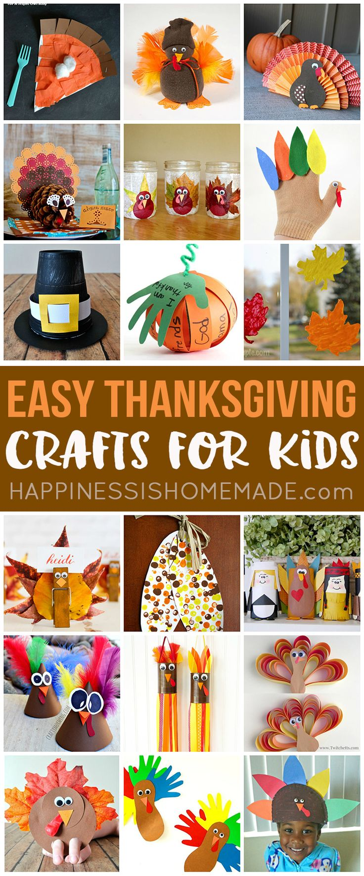 These quick and easy Thanksgiving crafts for kids can be made in under 30 minutes using items that you probably already have around the house! No special tools or skills are required, so ANYONE can make these cute Thanksgiving kids crafts! Great fun for the entire family! via @hiHomemadeBlog