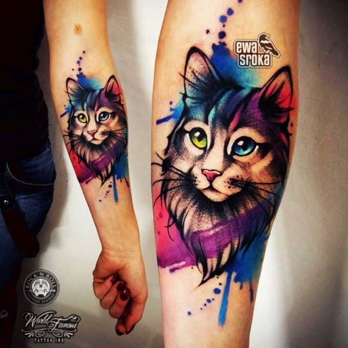 Watercolor style cat tattoo