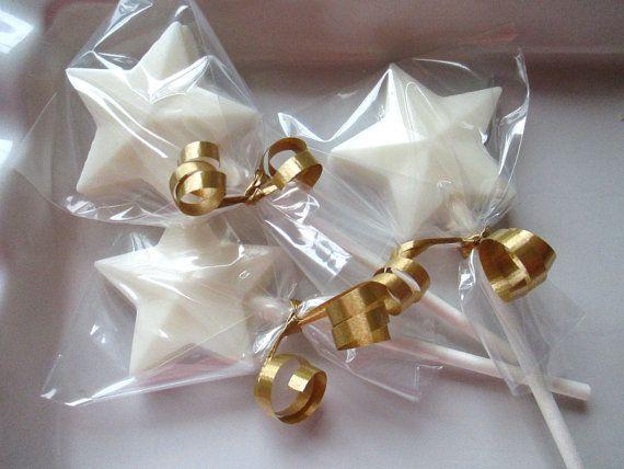 12 Chocolate Star Lollipops, star shaped favors, magic wand lollipop, star baby… Más