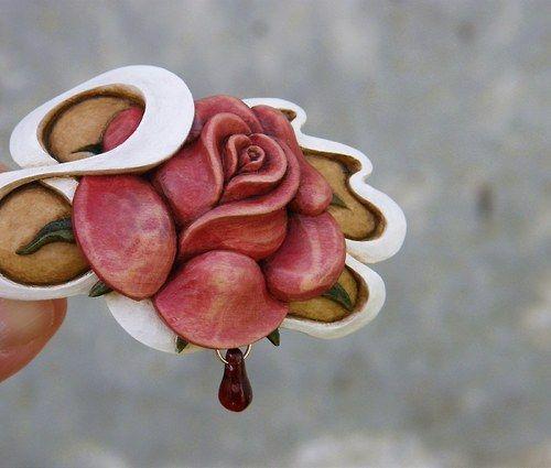 """Au!! Růže v \""""Secesi\""""  :)- sponka do vlasů..."""