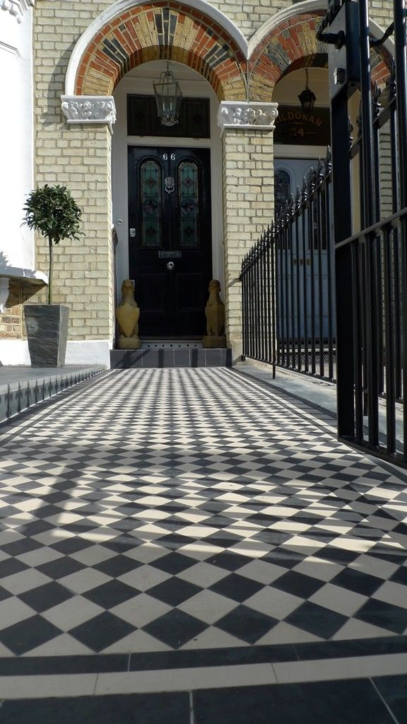 classic 50 black and white victorian mosaic tile path